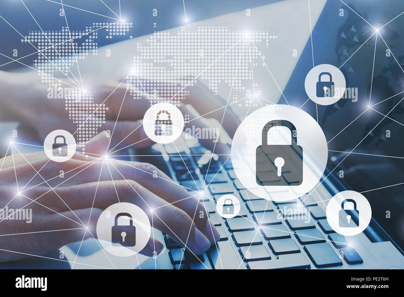 information security, secured network internet connection concept, data transfer encrypted with password, cybersecurity background with hands typing o Stock Photo