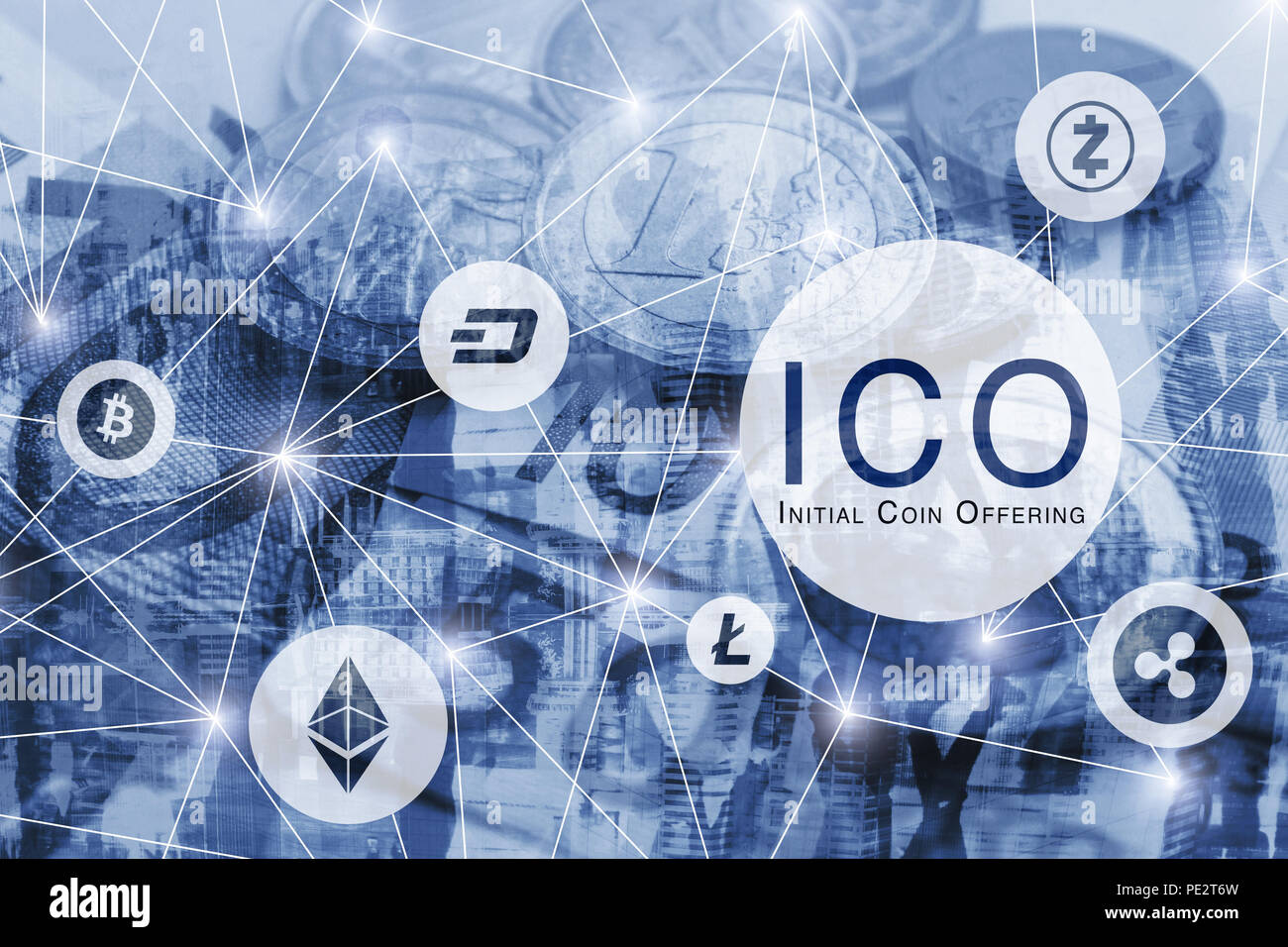 ICO concept, initial coin offering, digital money crypto currency bitcoin, litecoin, ethereum, dash, ripple - Stock Image
