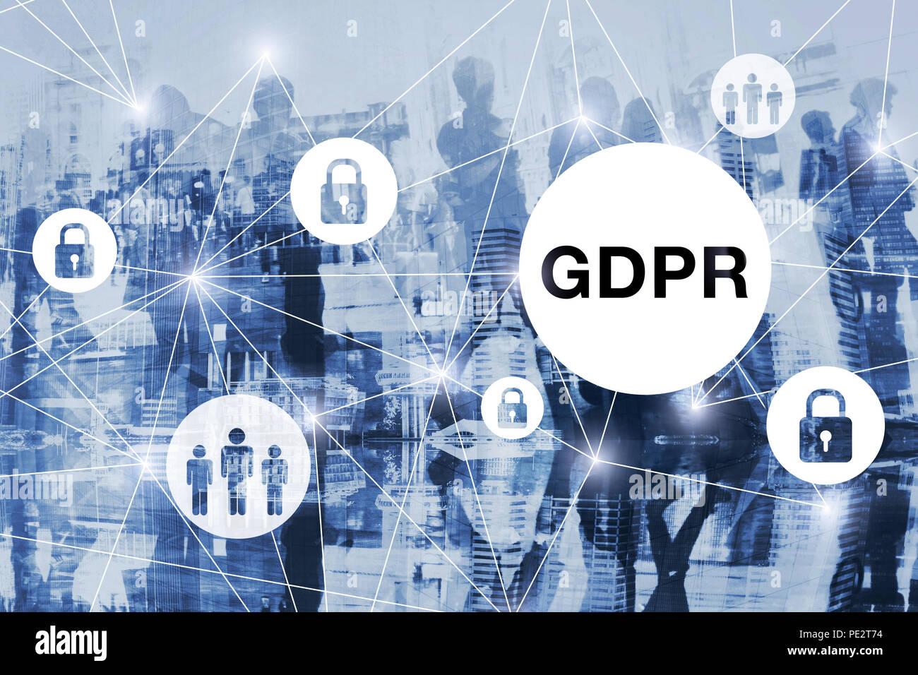 GDPR concept, general data protection regulation, blue background - Stock Image