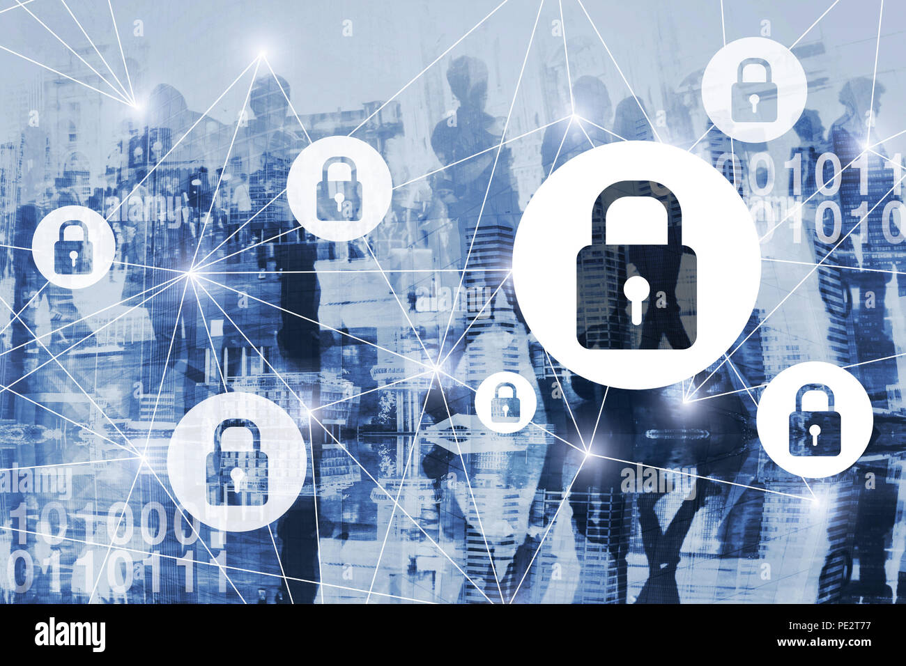 cyber security or gdpr concept, cybersecurity, personal information and private digital data protection online, virtual locks, secured internet connec - Stock Image