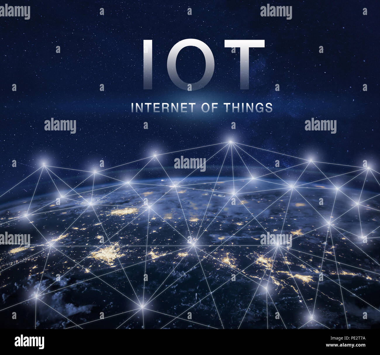 IOT, internet of things concept with global network around earth - Stock Image