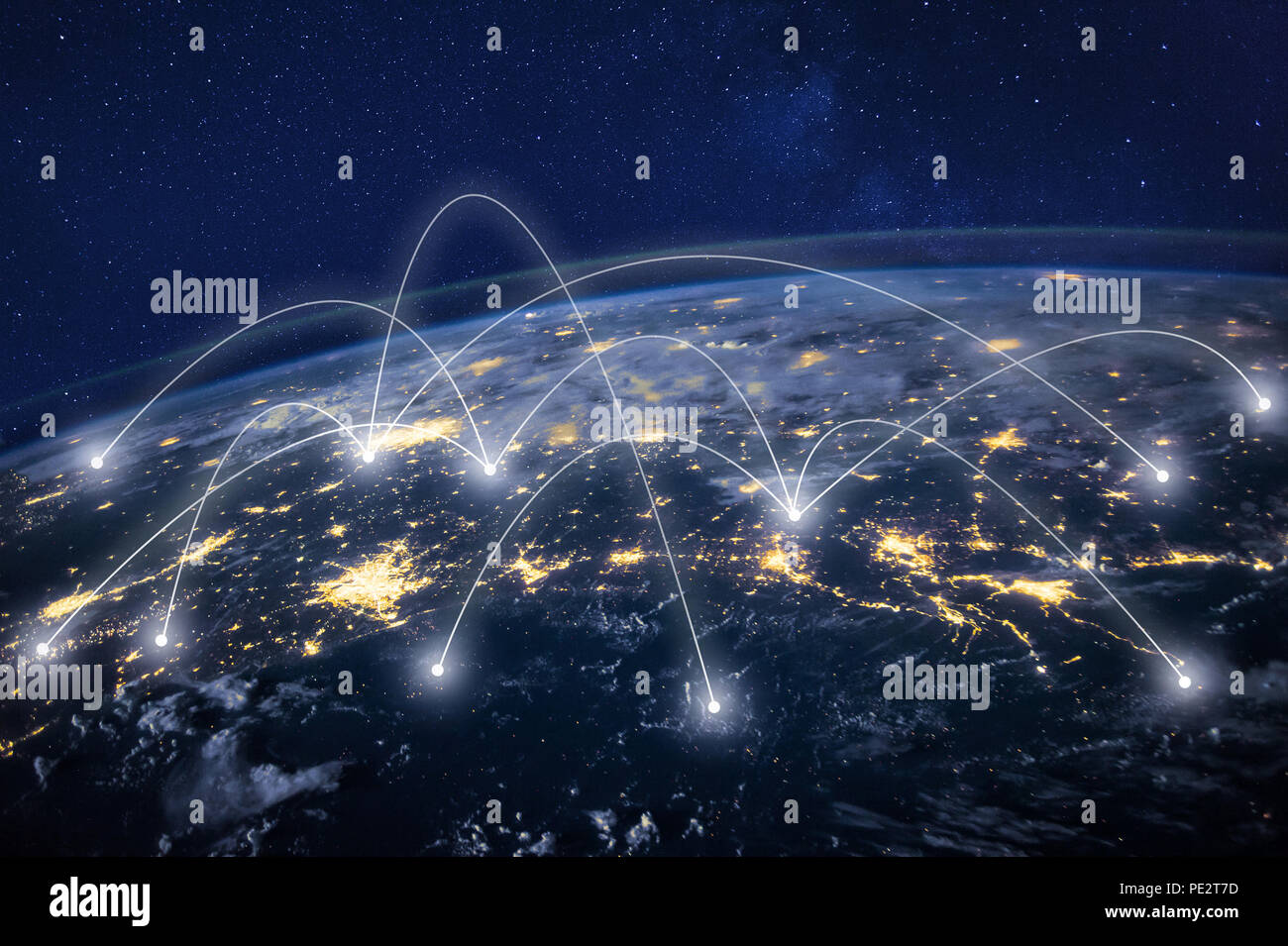 global network concept, information technology and telecommunication, planet Earth from space, business communication worldwide, original image furnis - Stock Image