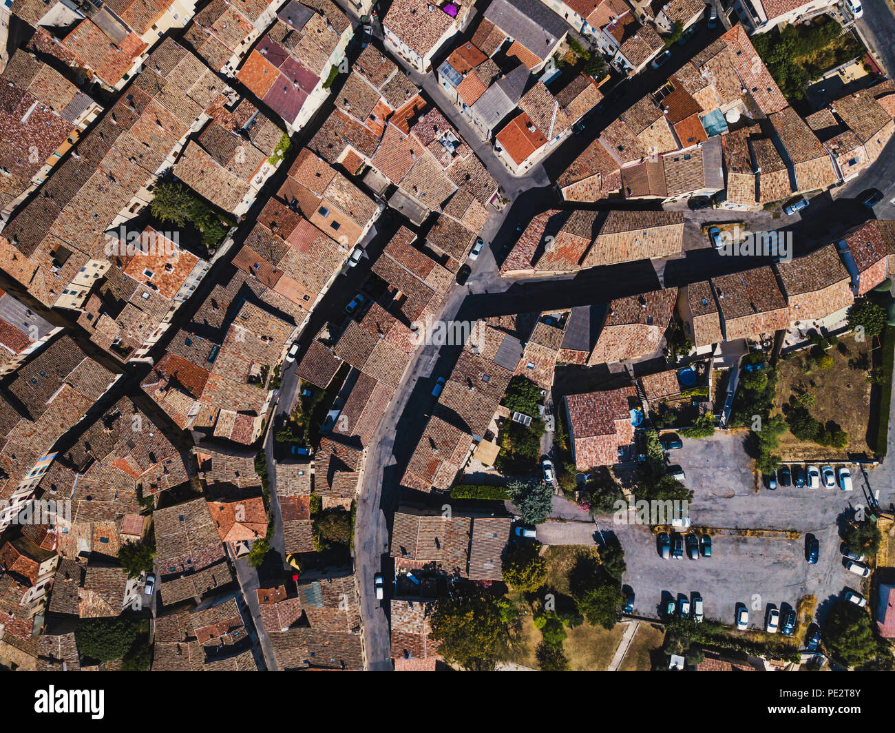 aerial view streets of village in Provence with tile roofs, travel to Europe, traditional architecture from drone - Stock Image