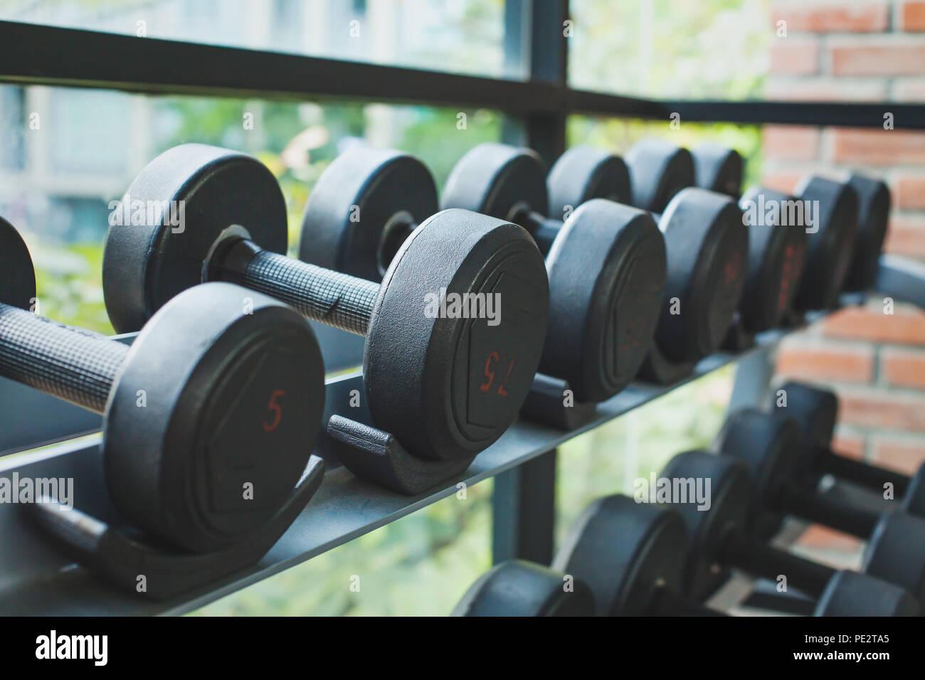dumbbells in fitness center - Stock Image