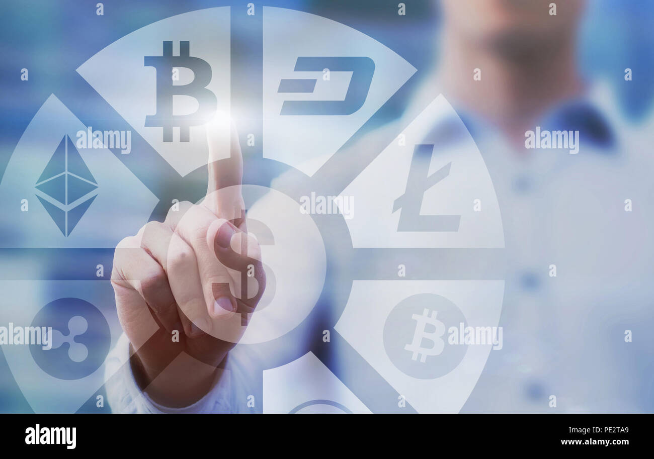 business man pressing buttons with bitcoin, litecoin and ethereum  on virtual touch screen interface, digital money concept, cryptocurrency - Stock Image