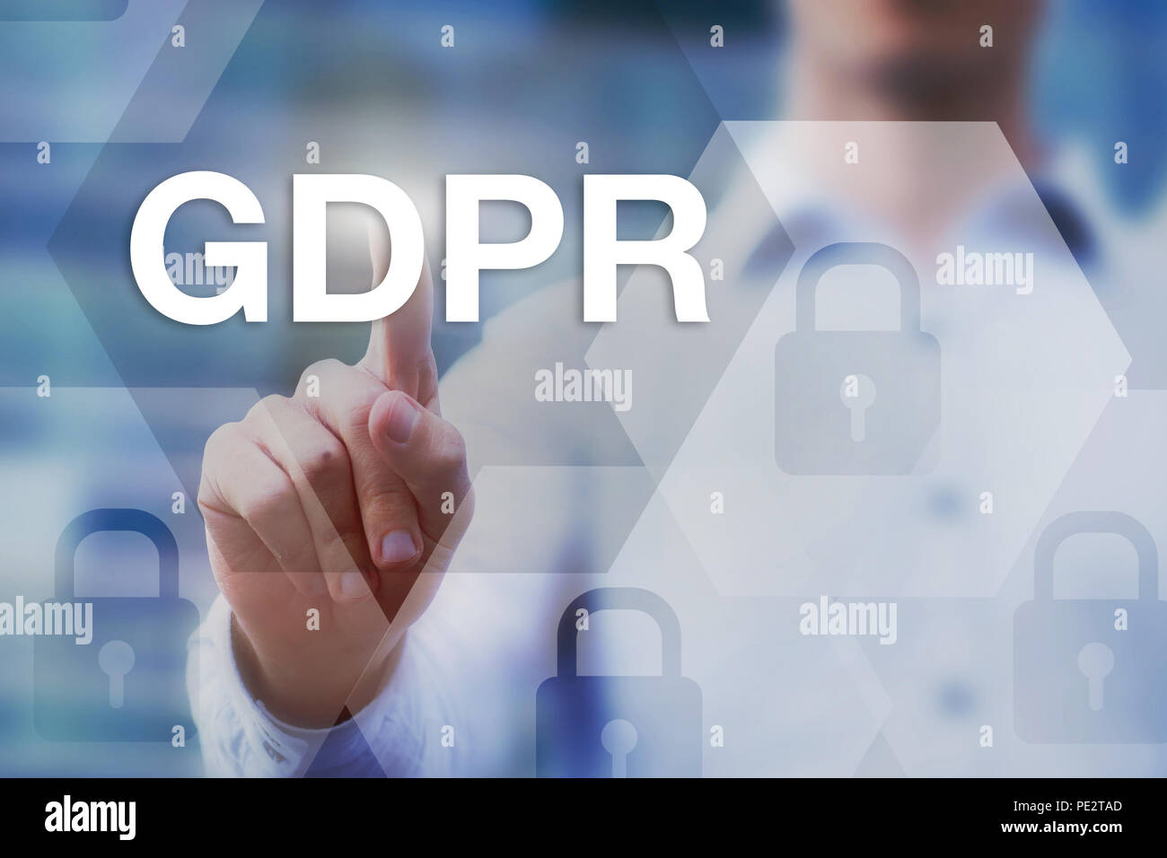 GDPR, General Data Protection Regulation, concept on touch screen - Stock Image