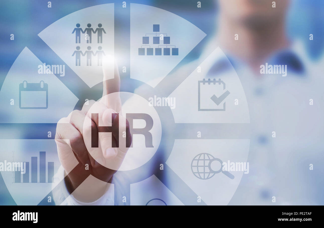 HR, human resources concept diagram on touch screen - Stock Image