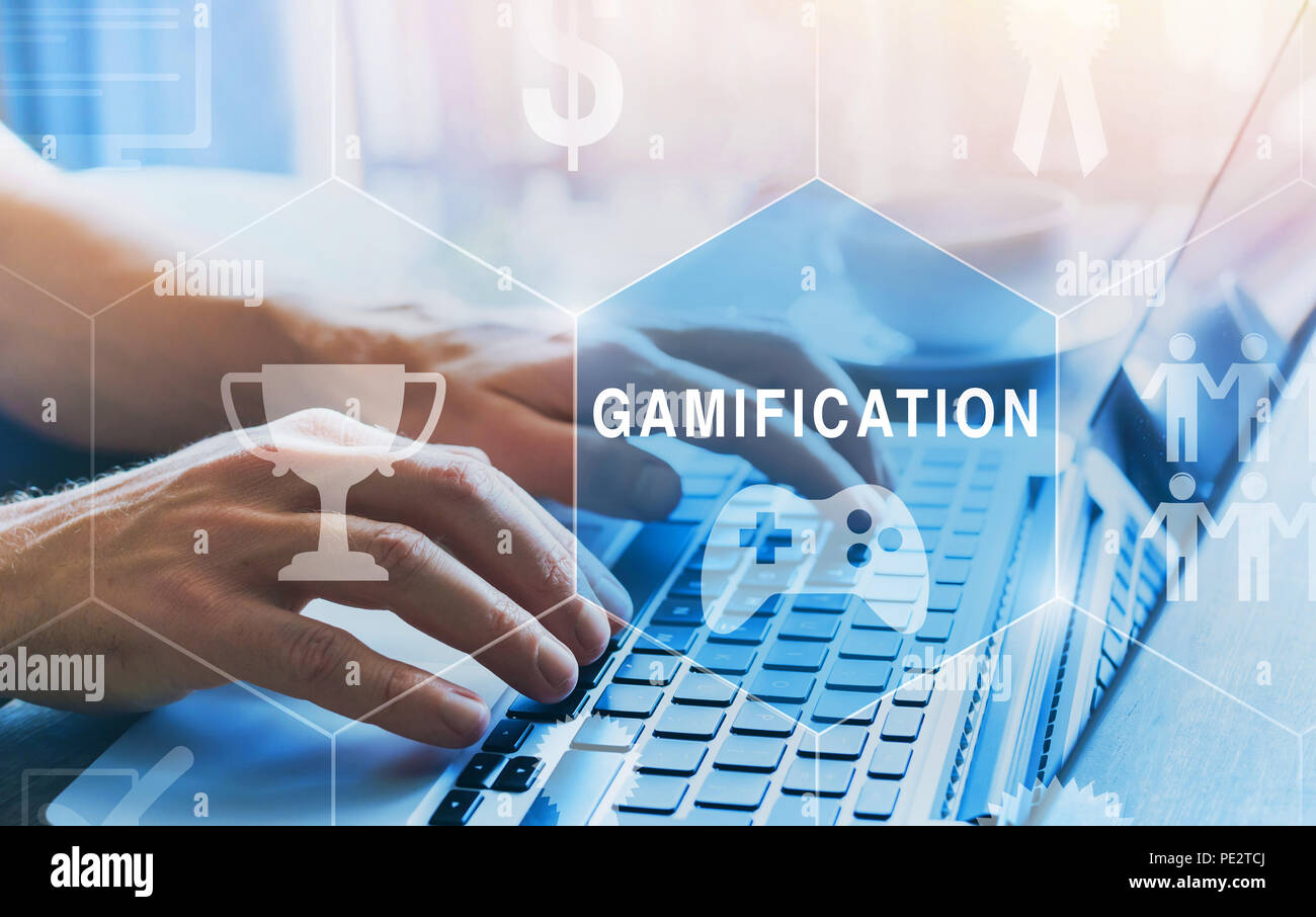 gamification concept diagram with icons - Stock Image