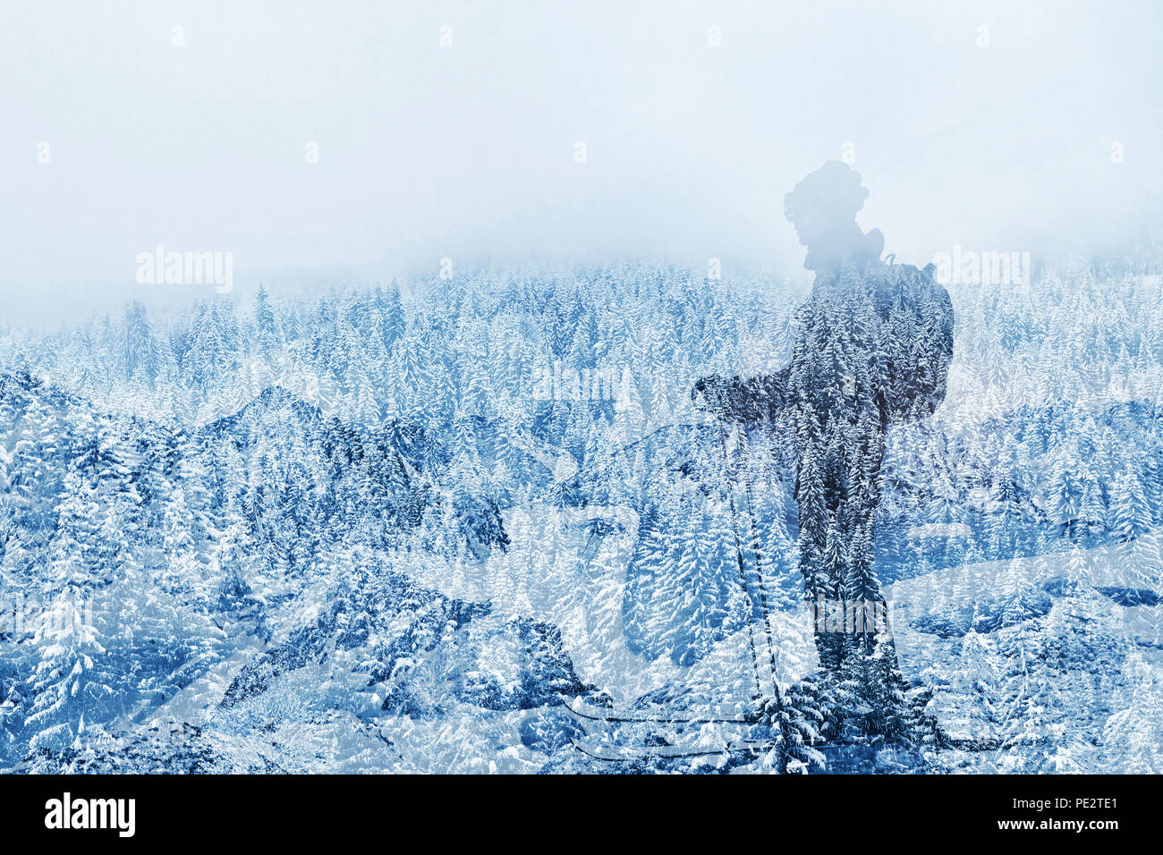 double exposure of skier in beautiful mountain landscape, skiing background, winter holidays outdoors activity - Stock Image