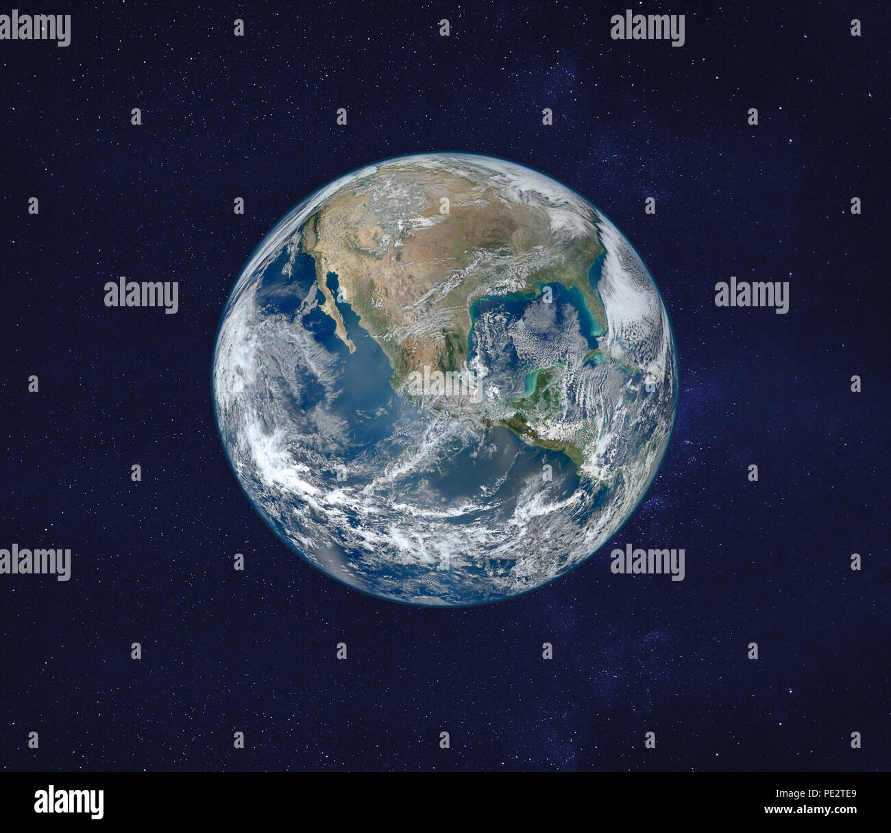 view of planet Earth from space, original image furnished by NASA - Stock Image