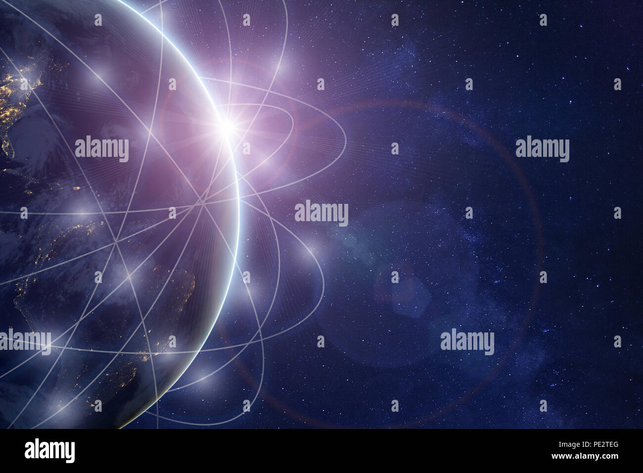 innovation technology and telecommunication concept, global internet communication network around planet Earth, satellite connection, parts of image f - Stock Image