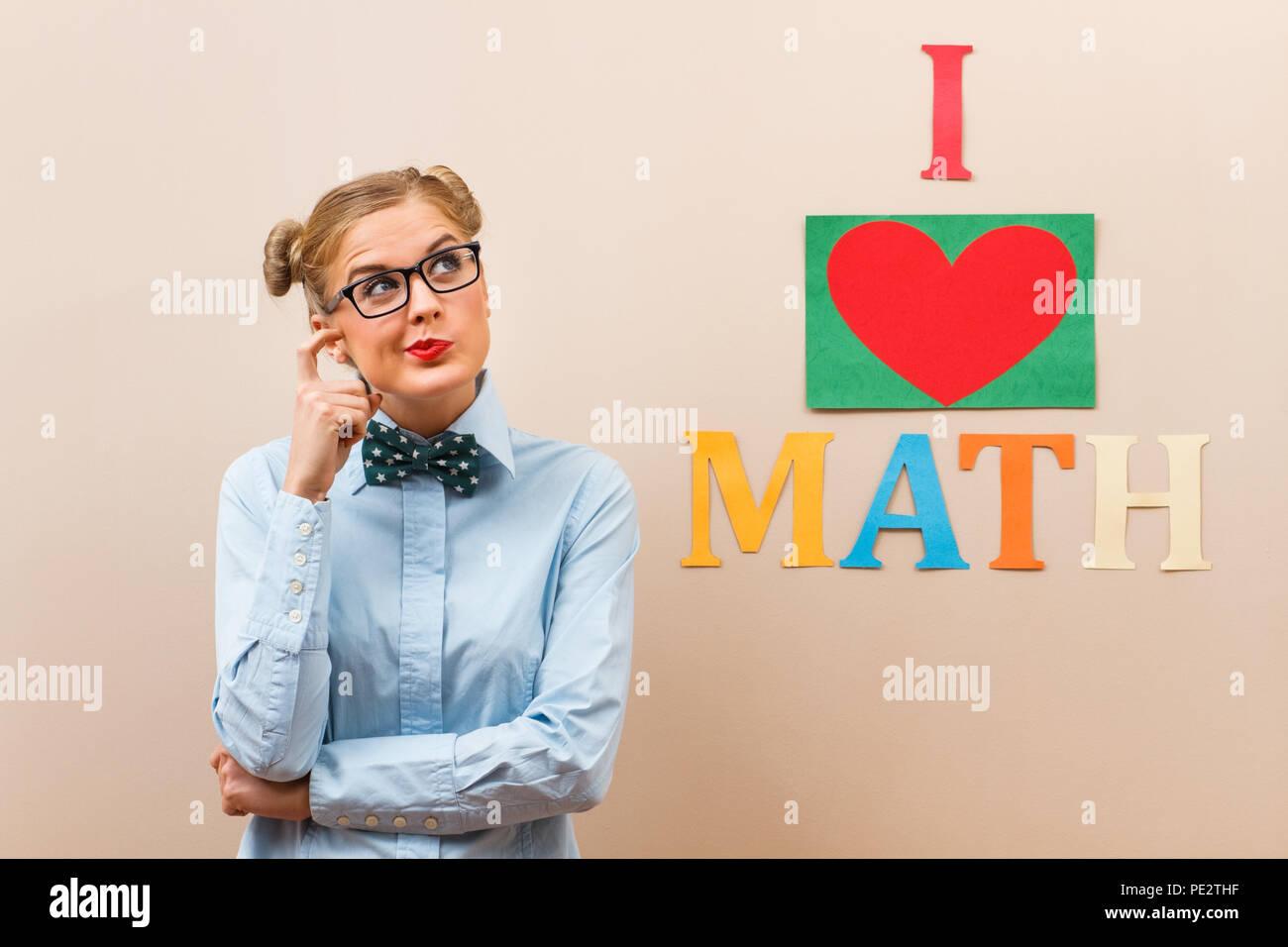 Mathematician thinking - Stock Image