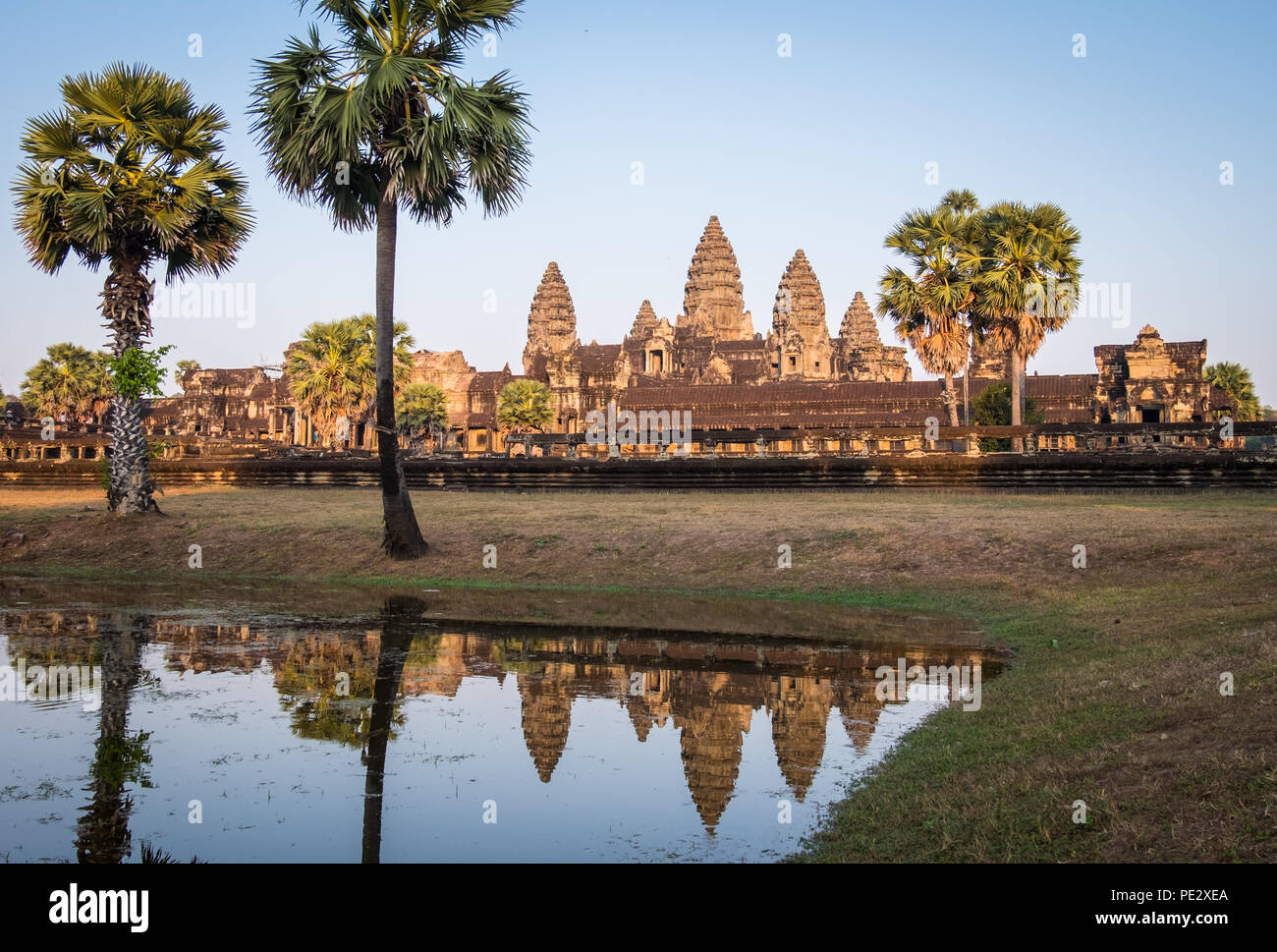 An evening sunset view of Angkor Wat Temple in Cambodia - Stock Image