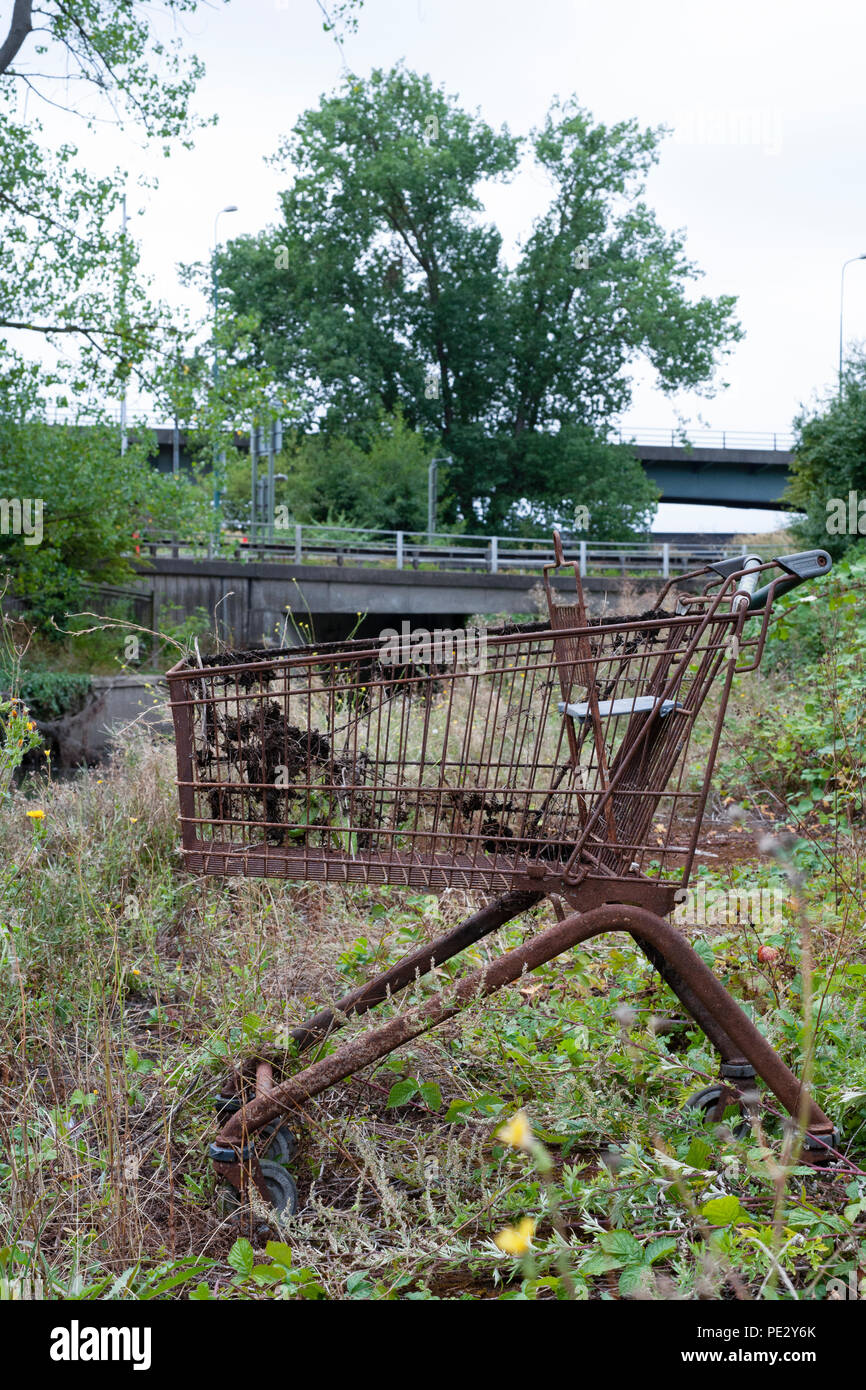 Dumped shopping trolley, Brent River, near Brent Reservoir, Brent, London, United Kingdom - Stock Image