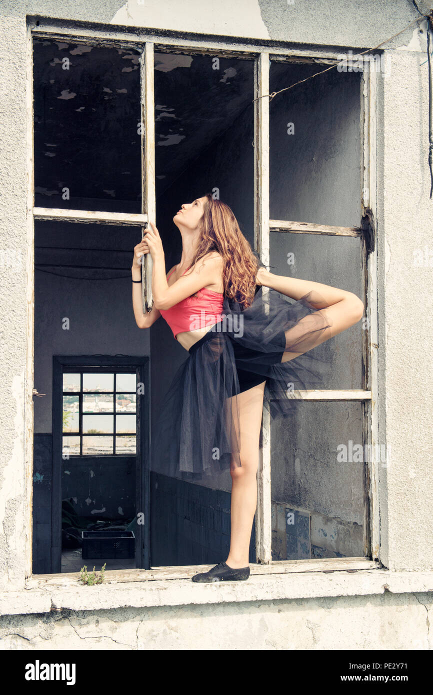 Side full length portrait of ballerina,istanbul - Stock Image
