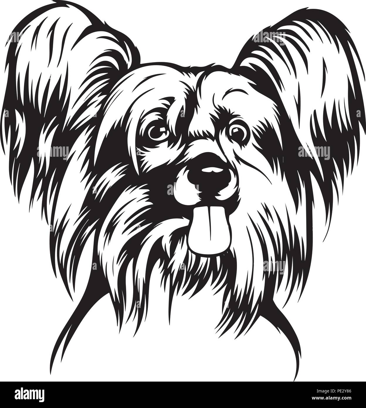 Chinese Crested Dog Breed Pet Puppy Isolated Head Face Stock Vector