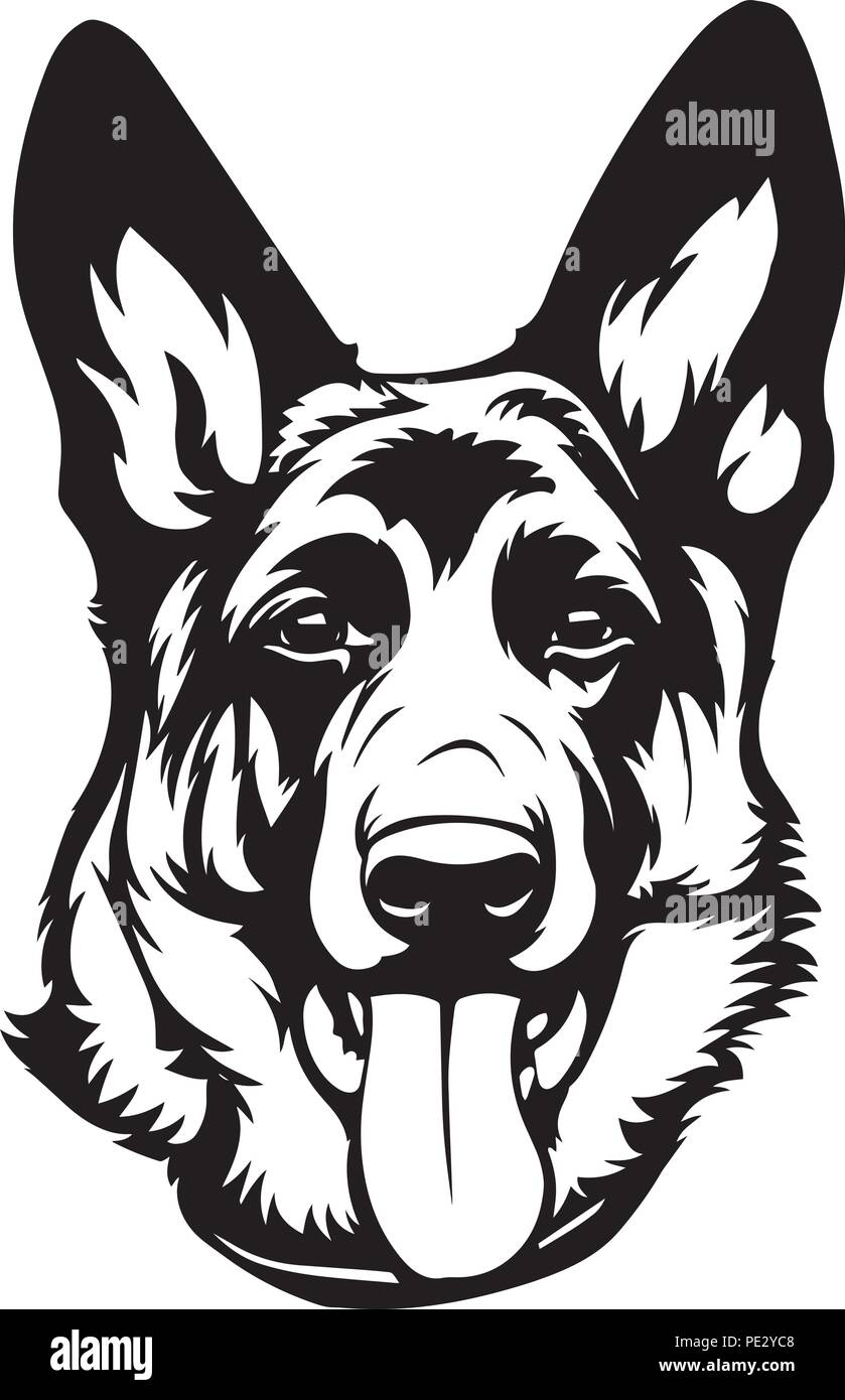 German Shepherd Breed Pet Puppy Isolated Head Face Stock Vector