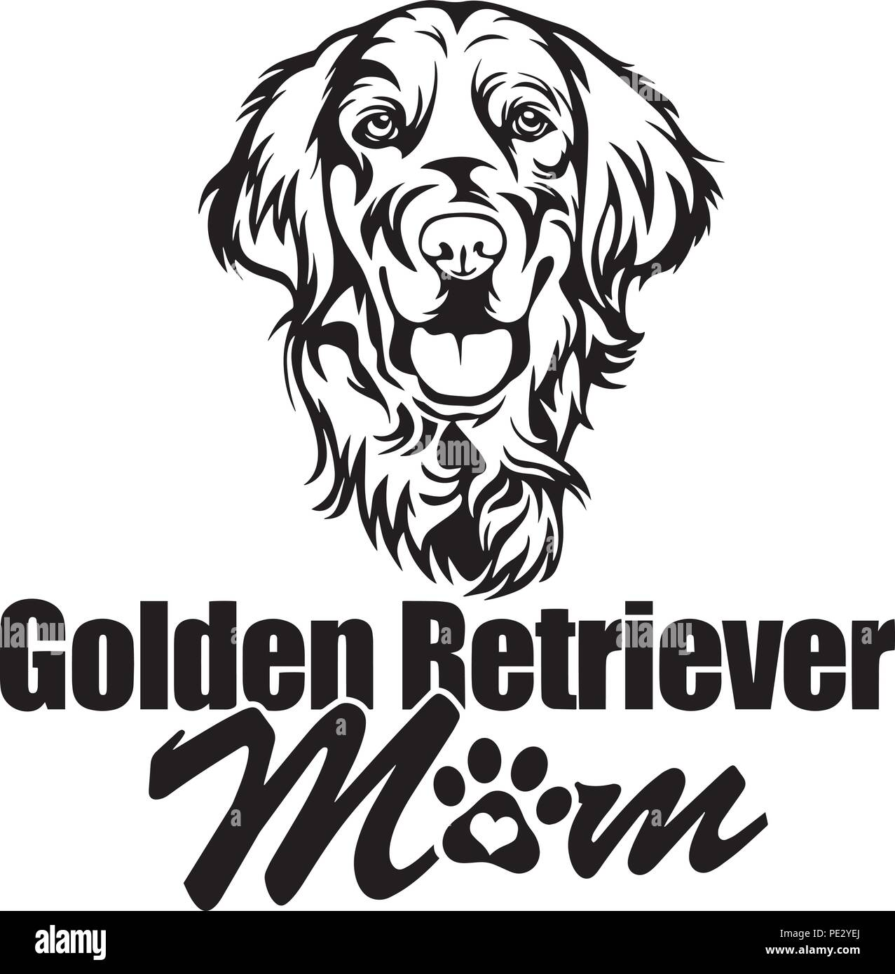Golden Retriever Breed Pet Puppy Isolated Head Face Stock Vector Art