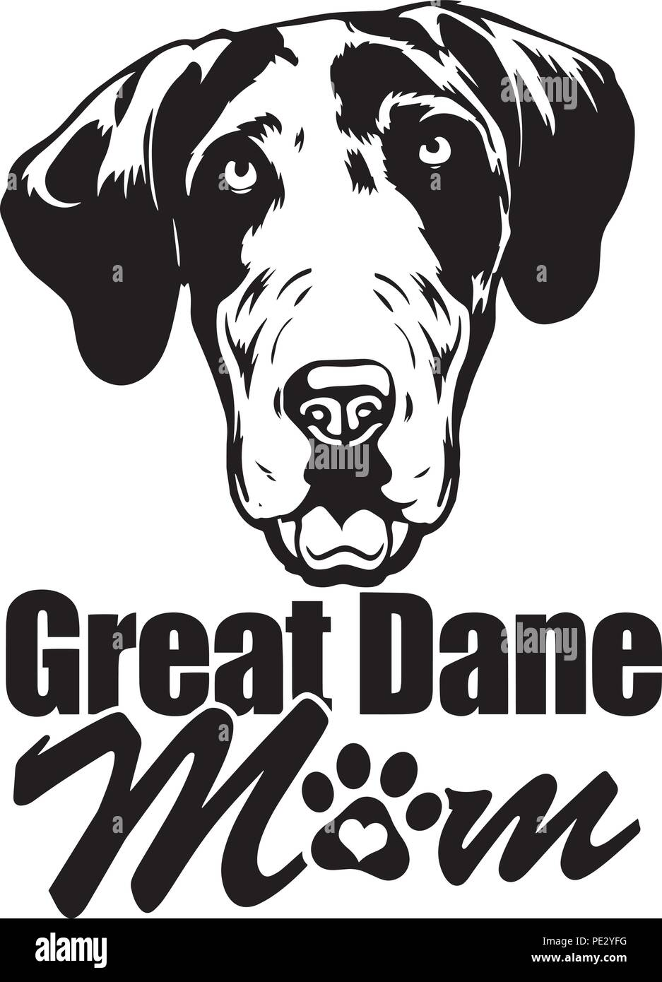 Great Dane Breed Pet Puppy Isolated Head Face Stock Vector