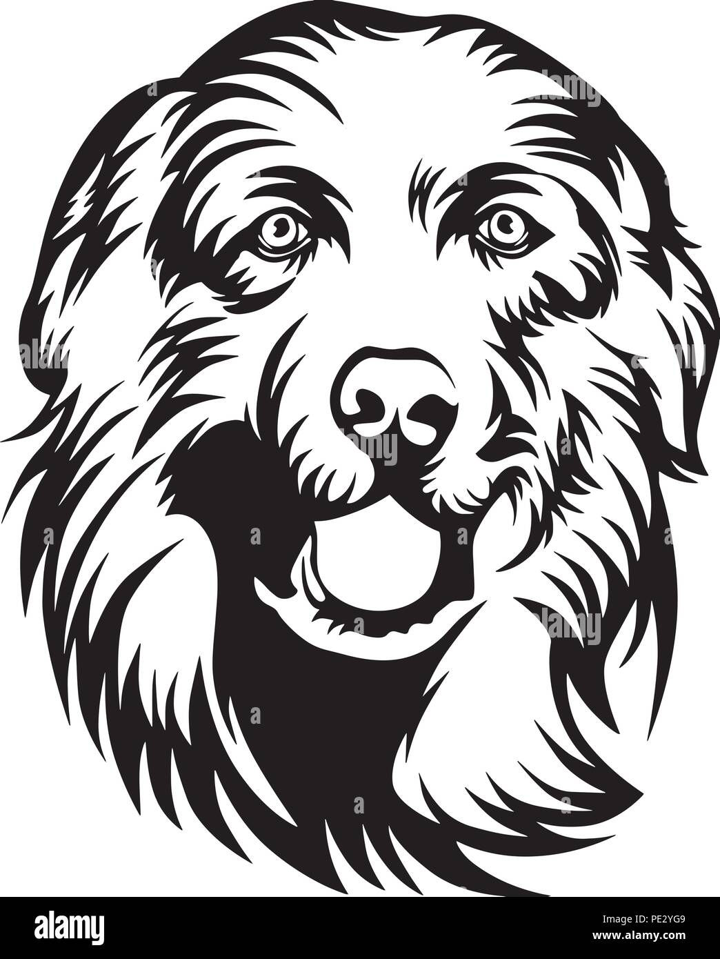 Great Pyrenees Breed Pet Puppy Isolated Head Face Stock Vector