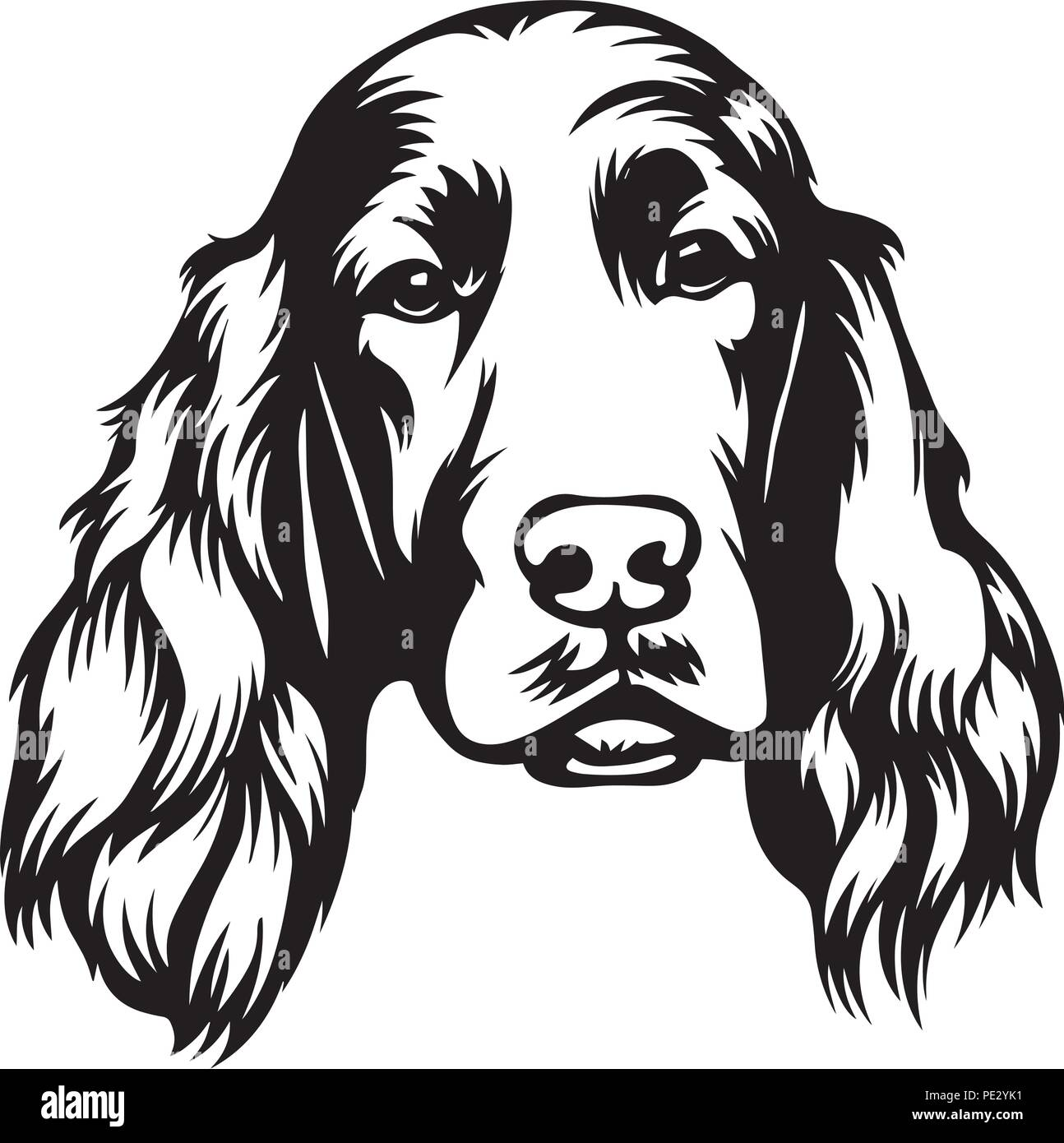 Irish Setter Dog Breed Pet Puppy Isolated Head Face Stock Vector