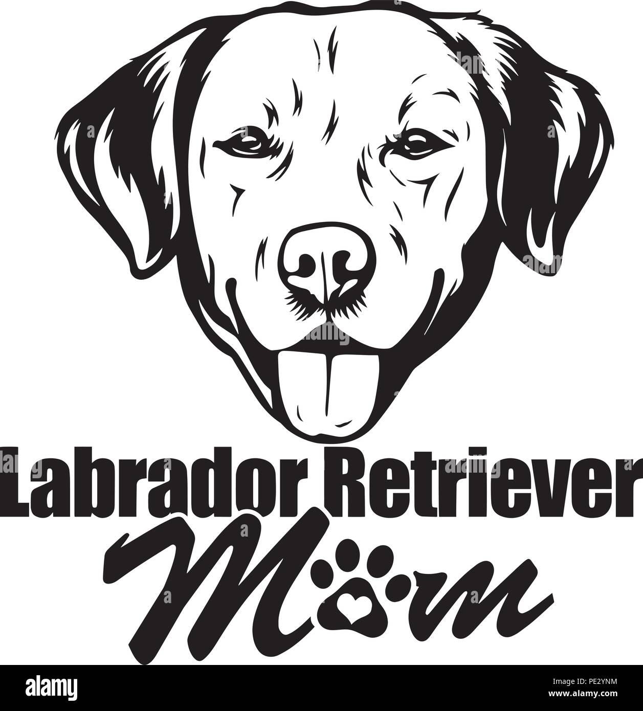 Labrador Retriever Dog Breed Pet Puppy Isolated Head Face Stock Vector