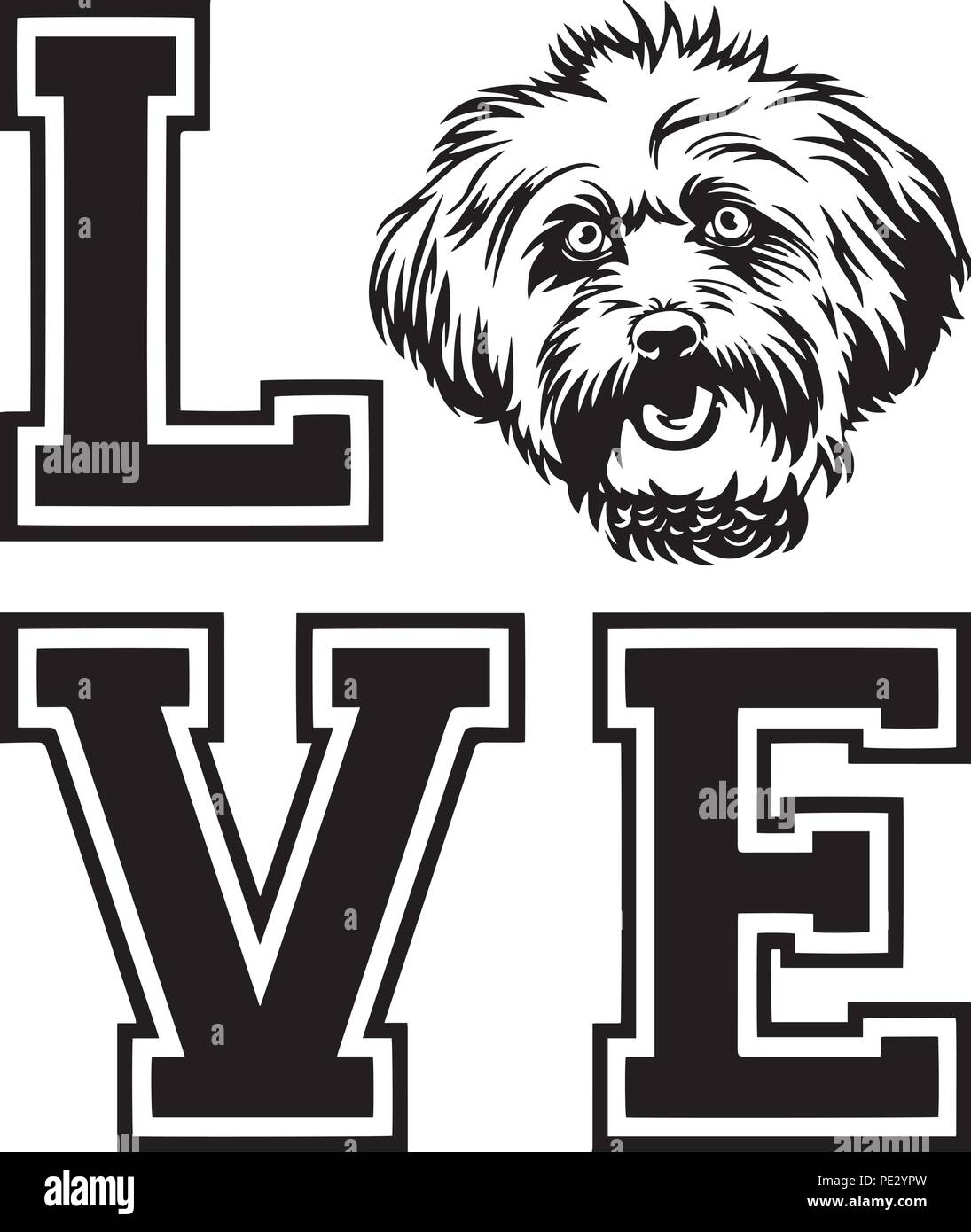 Lhasa Apso Dog Breed Pet Puppy Isolated Head Face Stock Vector