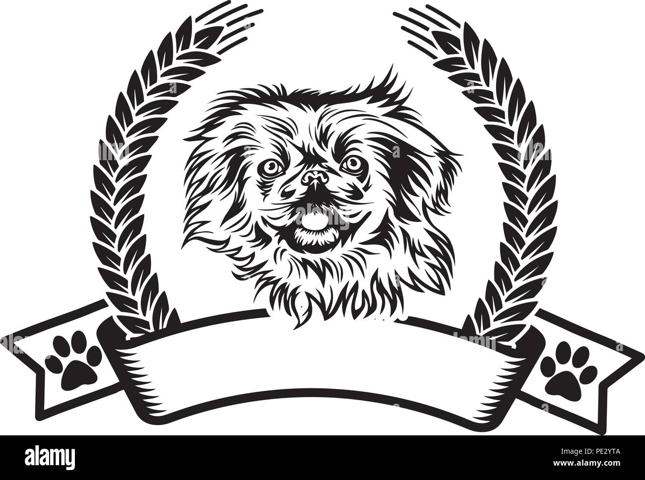 Pekingese Dog Dog Breed Pet Puppy Isolated Head Face Stock Vector