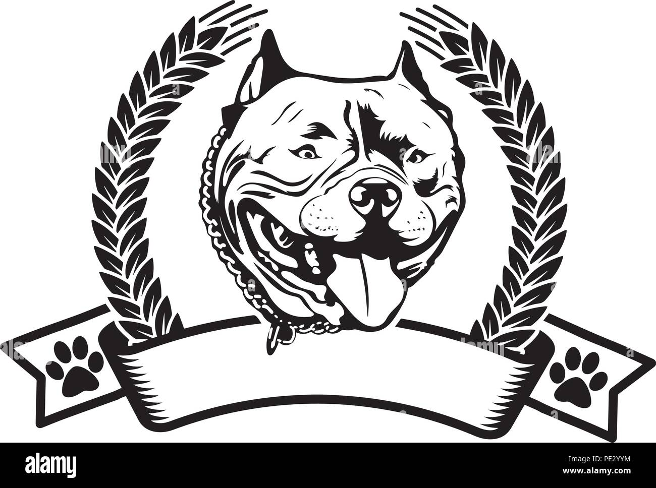 Pit Bull Pitbull Dog Dog Breed Pet Puppy Isolated Head Face Stock Vector