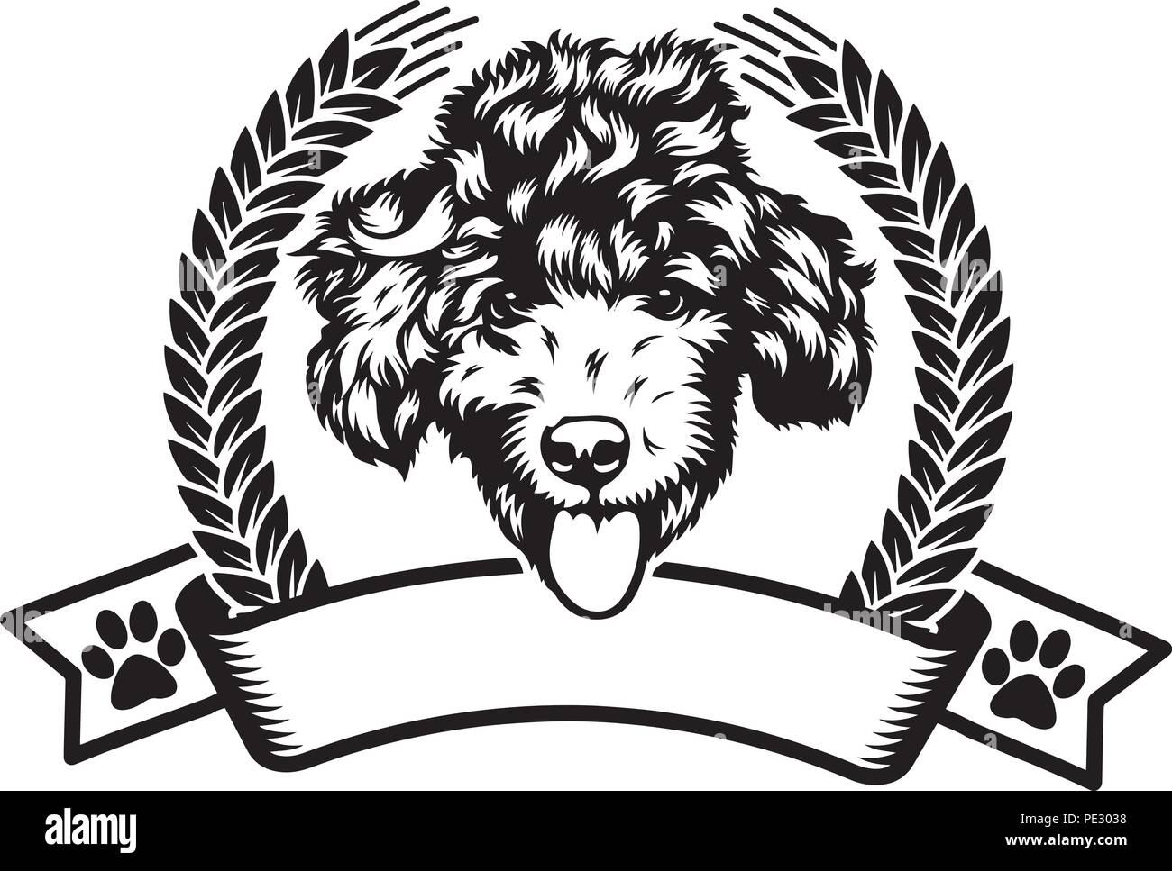 Poodle Dog Dog Breed Pet Puppy Isolated Head Face Stock Vector