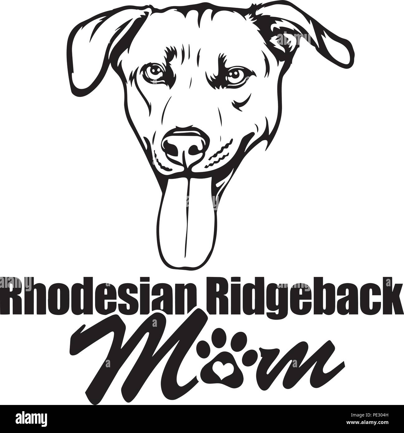 Rhodesian Ridgeback Dog Breed Pet Puppy Isolated Head Face Stock Vector