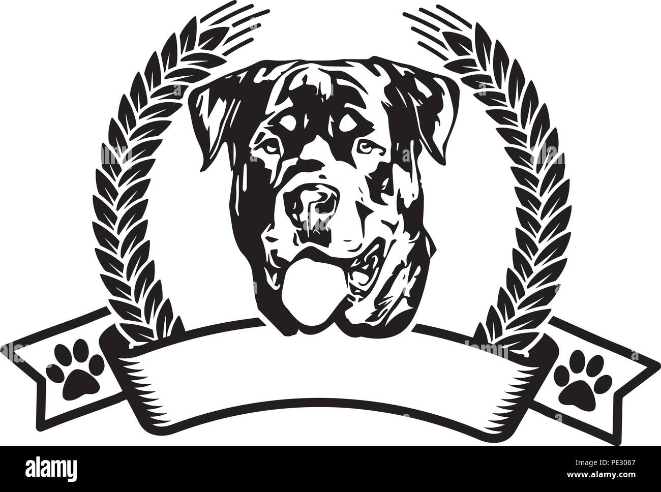Rottweiler Rotty Dog Breed Pet Puppy Isolated Head Face - Stock Image