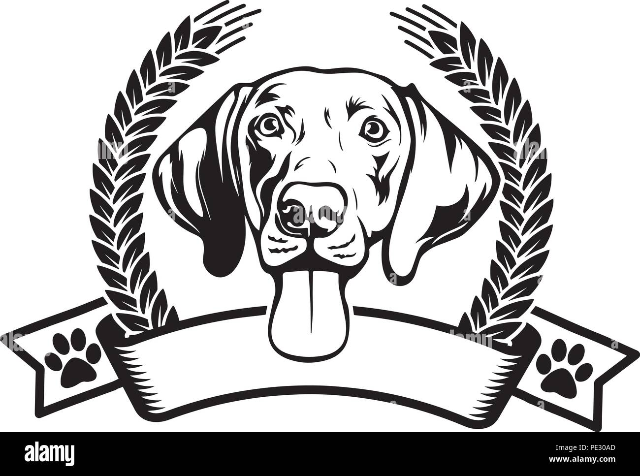 Weimaraner Dog Breed Pet Puppy Isolated Head Face Stock Vector