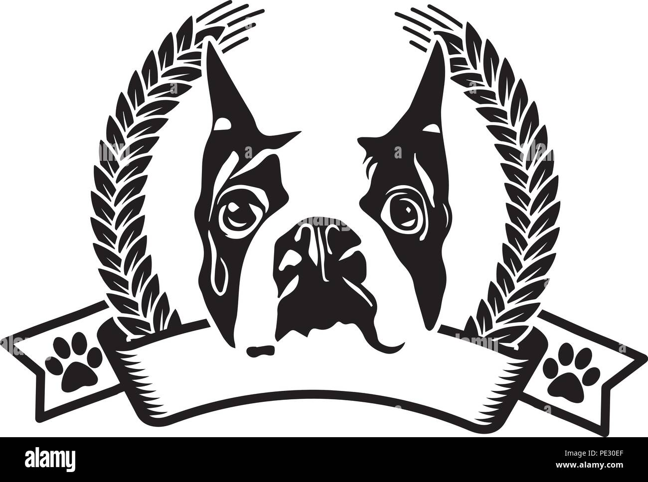 Boston Terrier Bostie Dog Breed Pet Puppy Isolated Head Face Stock Vector