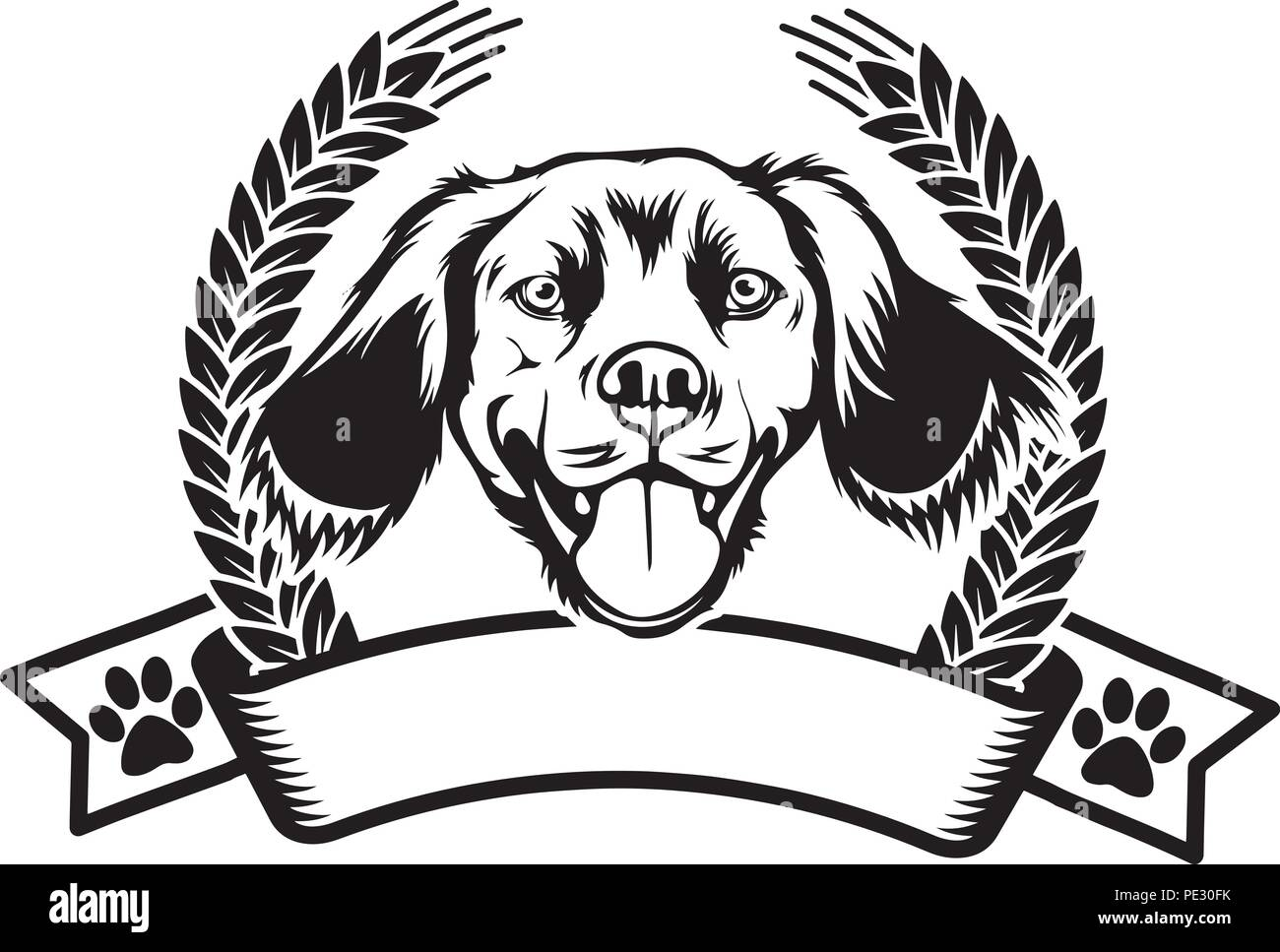 Brittany Spaniel Dog Breed Pet Puppy Isolated Head Face Stock Vector