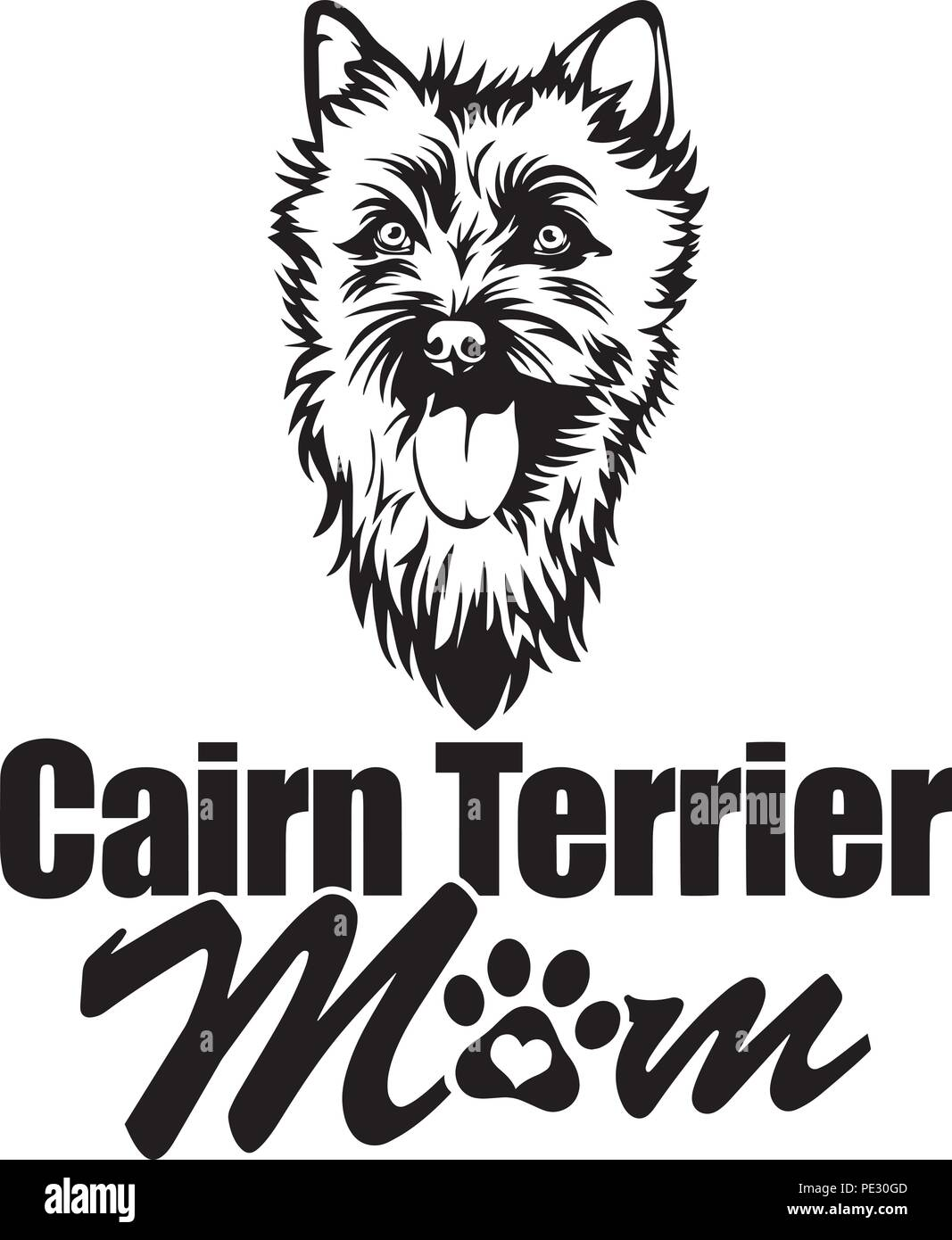 Cairn Terrier Dog Breed Pet Puppy Isolated Head Face Stock Vector