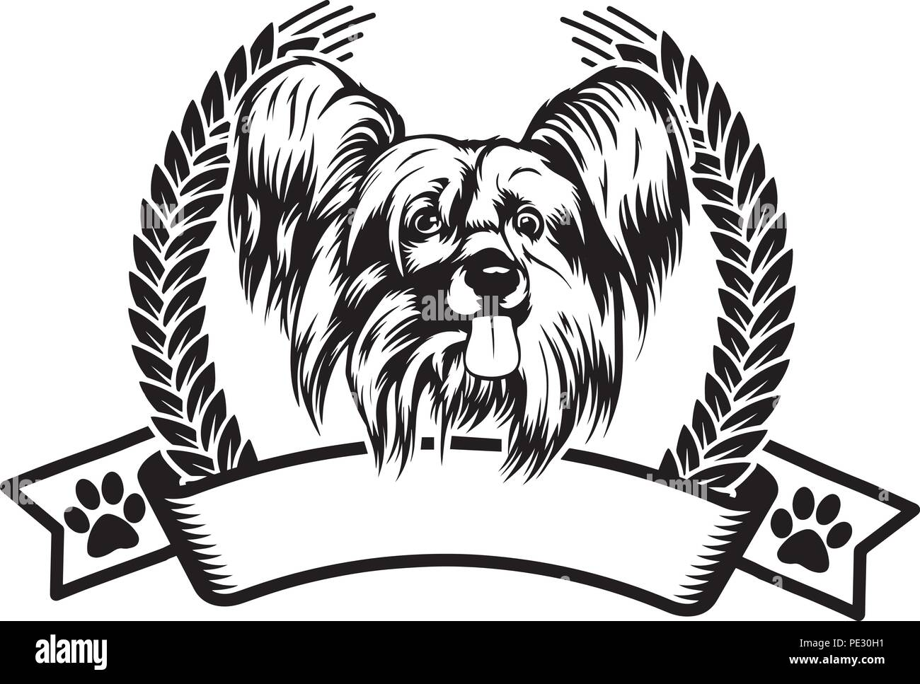 Chinese Crested Dog Breed Pet Puppy Isolated Head Face - Stock Vector
