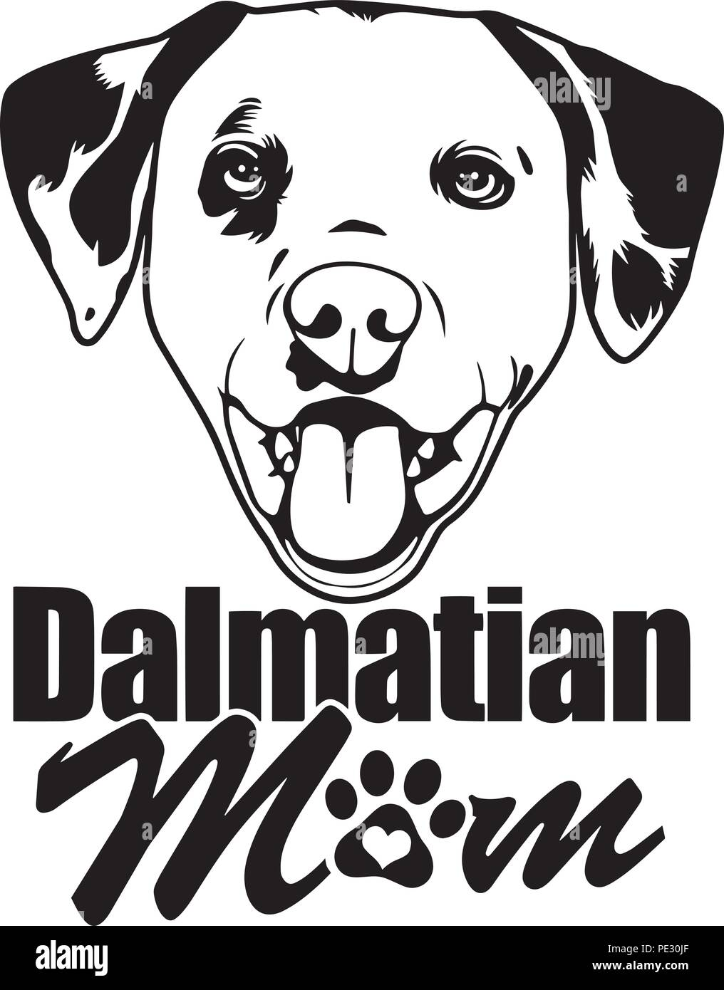 Dalmatian Dog Breed Pet Puppy Isolated Head Face - Stock Vector