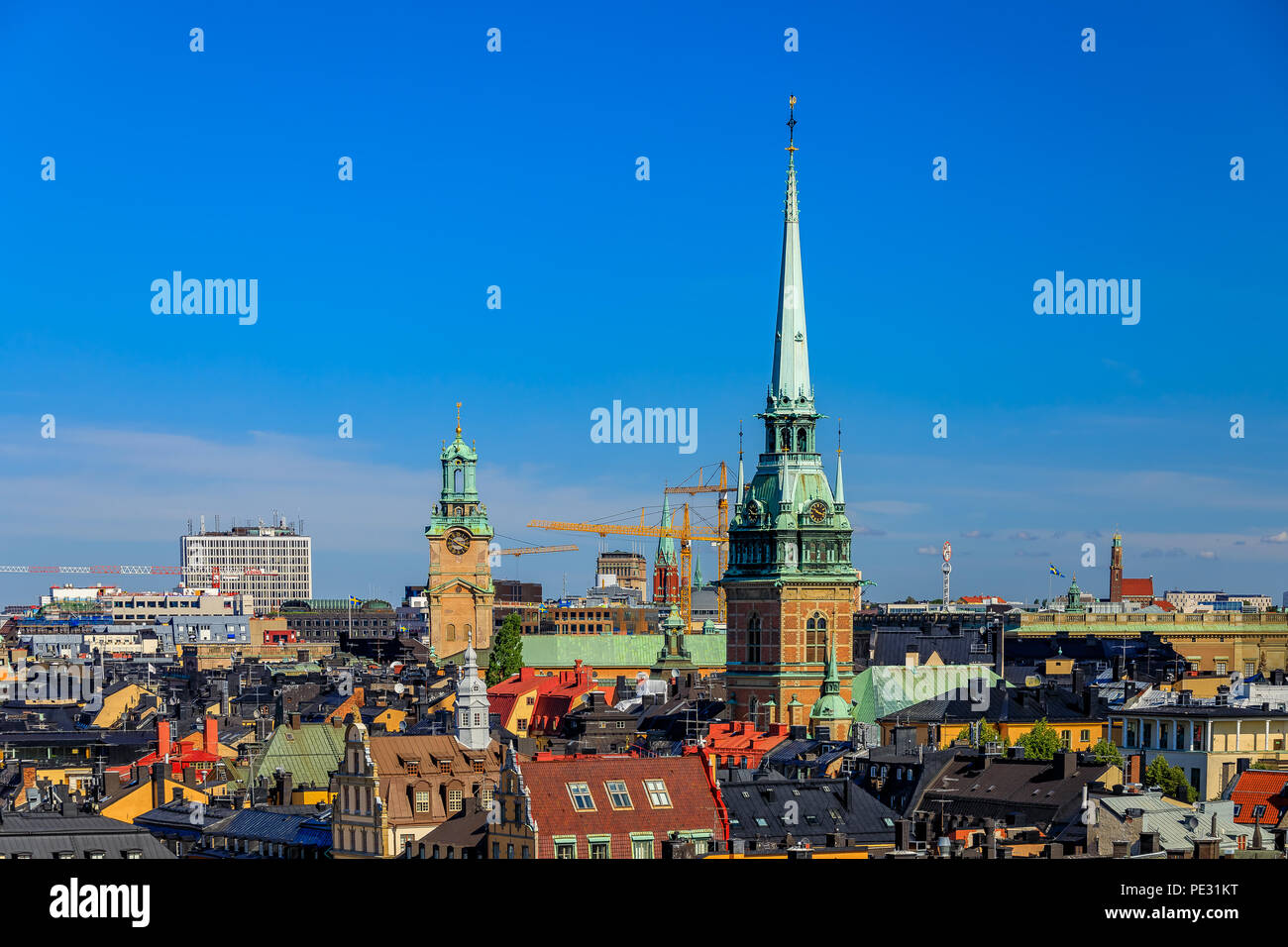 Rooftops of traditional gothic buildings in the old town part of Sodermalm island in Stockholm, Sweden - Stock Image