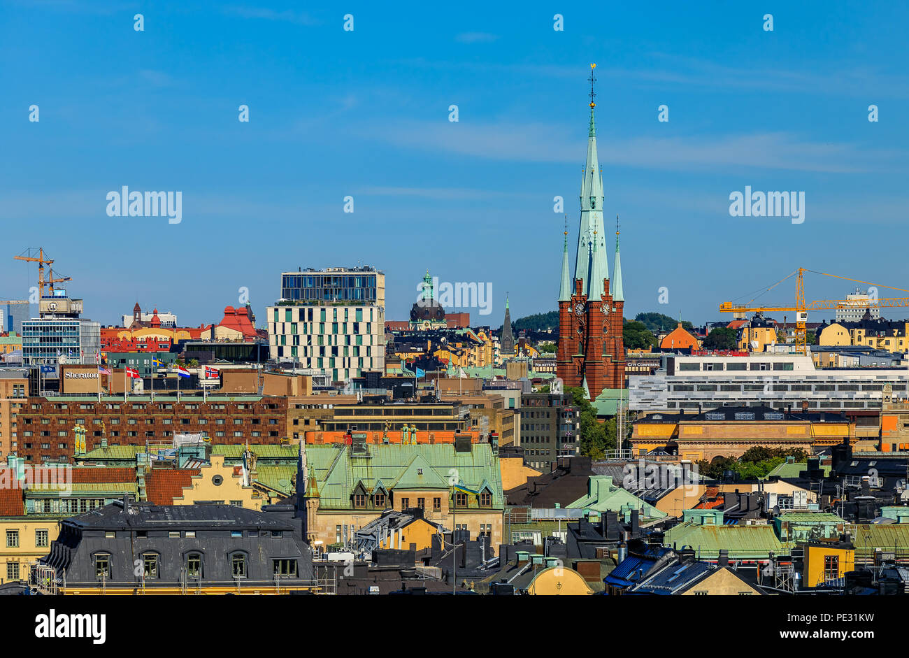 Stockholm, Sweden - August 11, 2017: Rooftops of traditional gothic buildings in the old town part of Sodermalm island - Stock Image