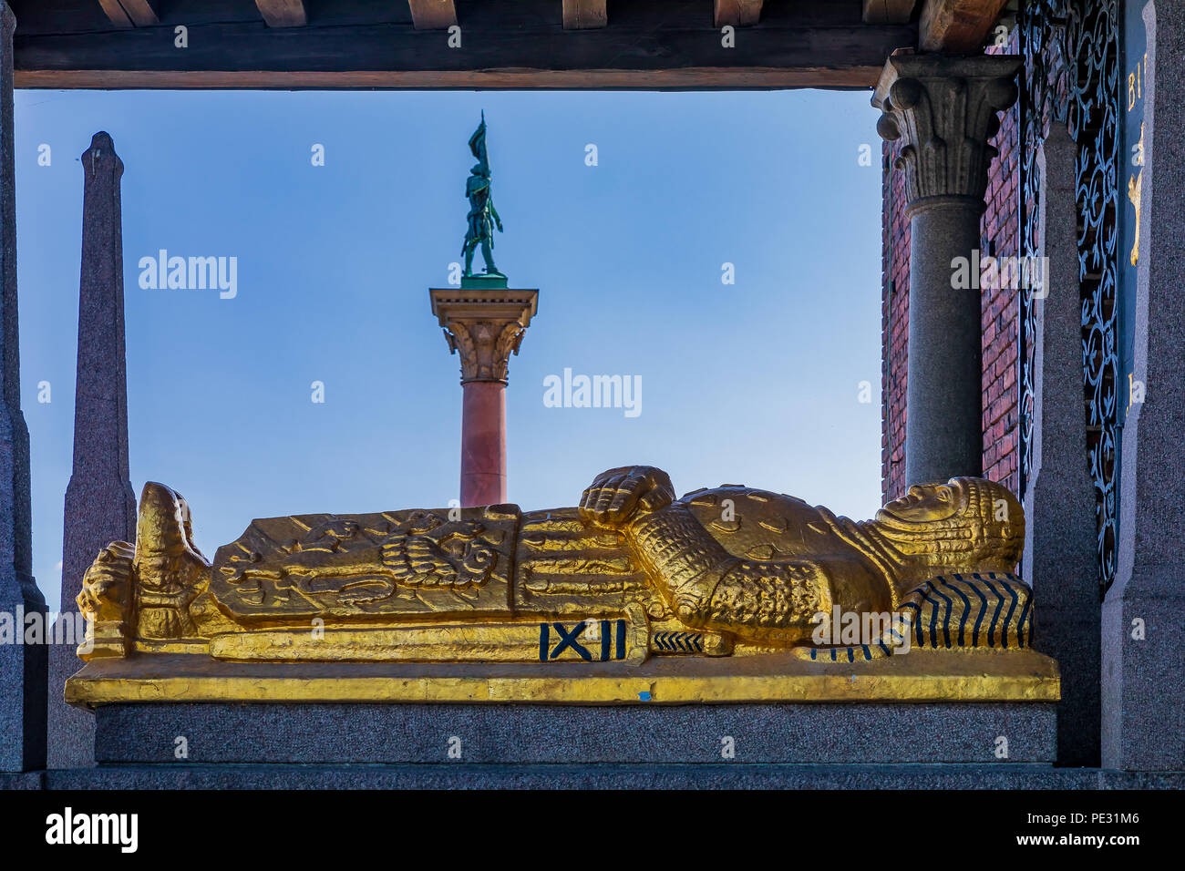 Tomb of Birger Jarl or Birger Magnusson, Jarl or Duke of Sweden, who founded Stockholm in the 13th century at Stadshuset, City Hall, in Kungsholmen is - Stock Image