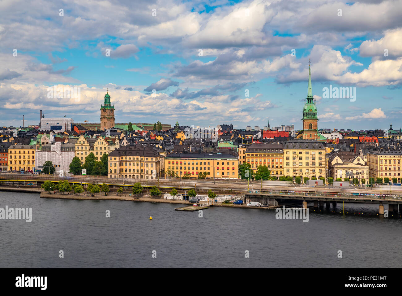 Traditional gothic buildings in the old town, Gamla Stan in Stockholm, Sweden - Stock Image