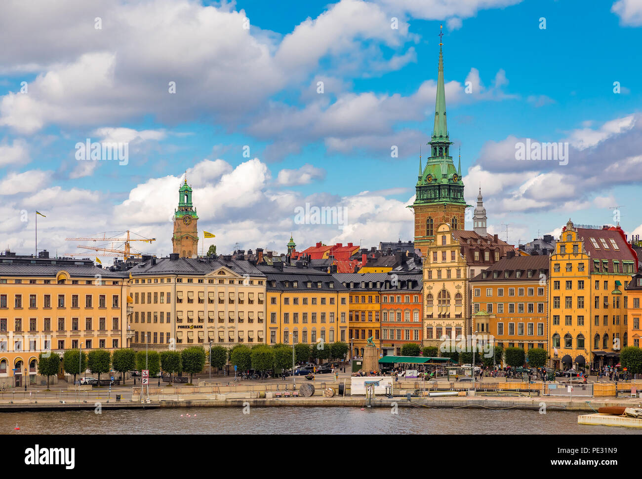 Stockholm, Sweden - August 10, 2017:  Traditional gothic buildings on Kornhamnstorg square, Harbour Square, in the old town, Gamla Stan - Stock Image