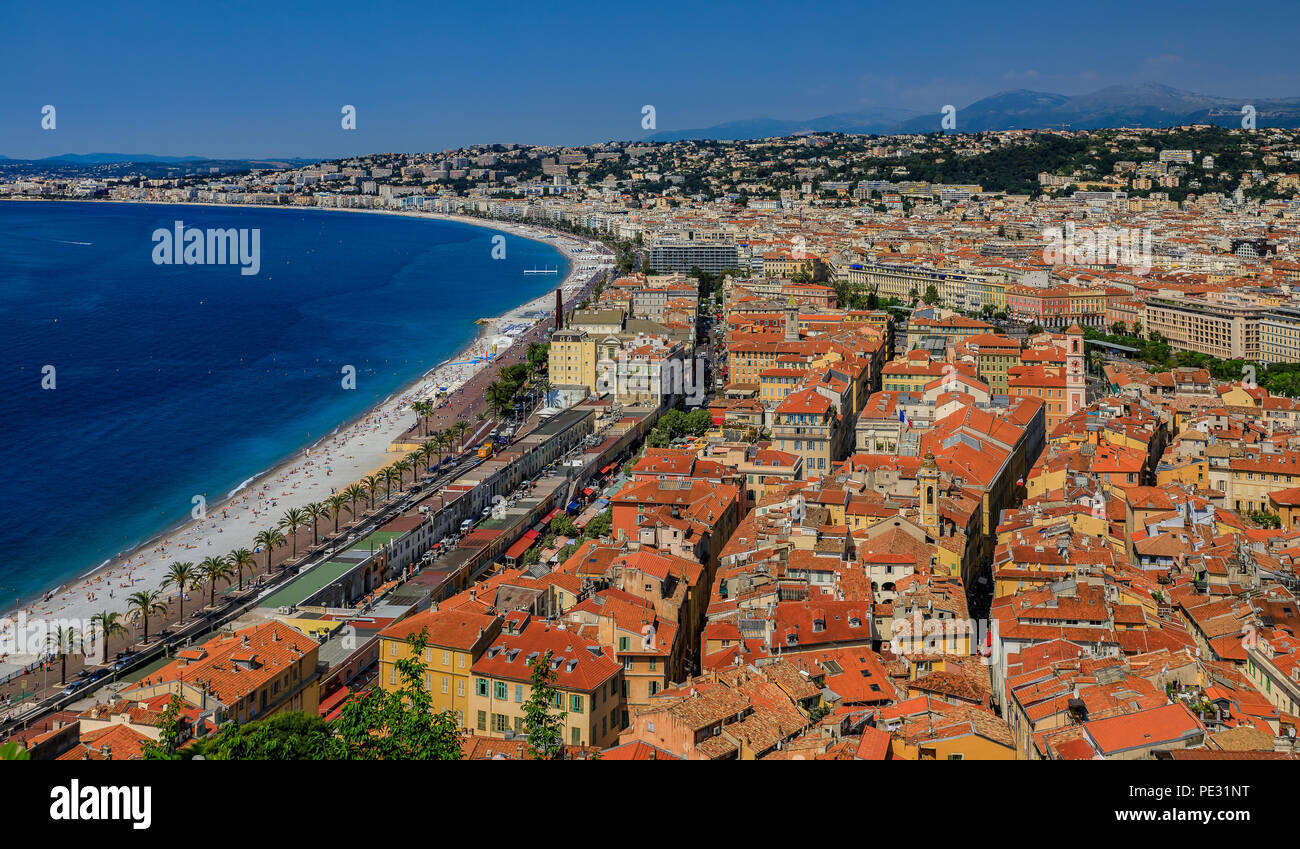 View of Nice cityscape and onto the rooftops of the Old Town, Vieille Ville in Nice, French Riviera on the Mediterranean Sea, Cote d'Azur, France - Stock Image