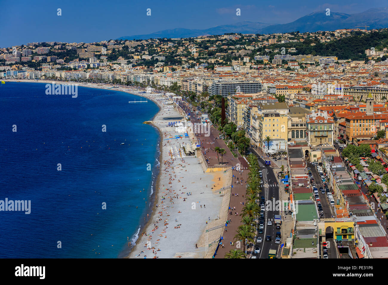 View of Nice cityscape onto the Old Town, Vieille Ville in Nice, French Riviera on the Mediterranean Sea, Cote d'Azur, France - Stock Image