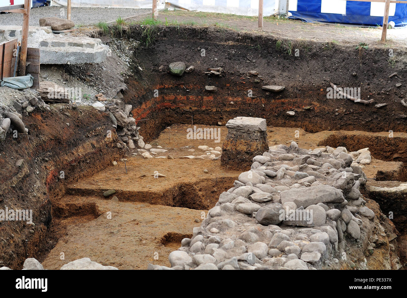 excavation of roman ruins in public archaeological park in Kempten, Germany Stock Photo