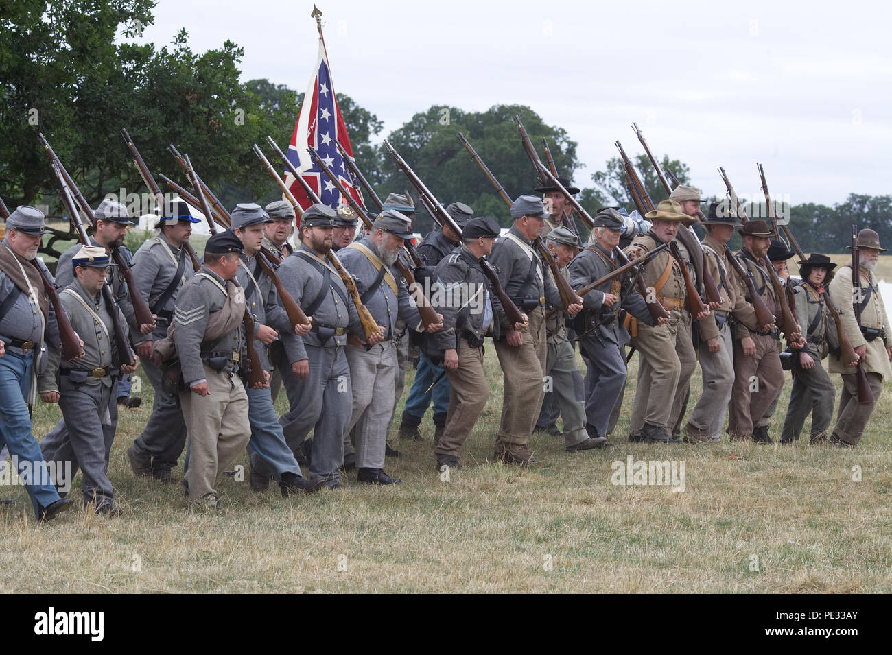 The Confederate army on the battlefield for the reenactment