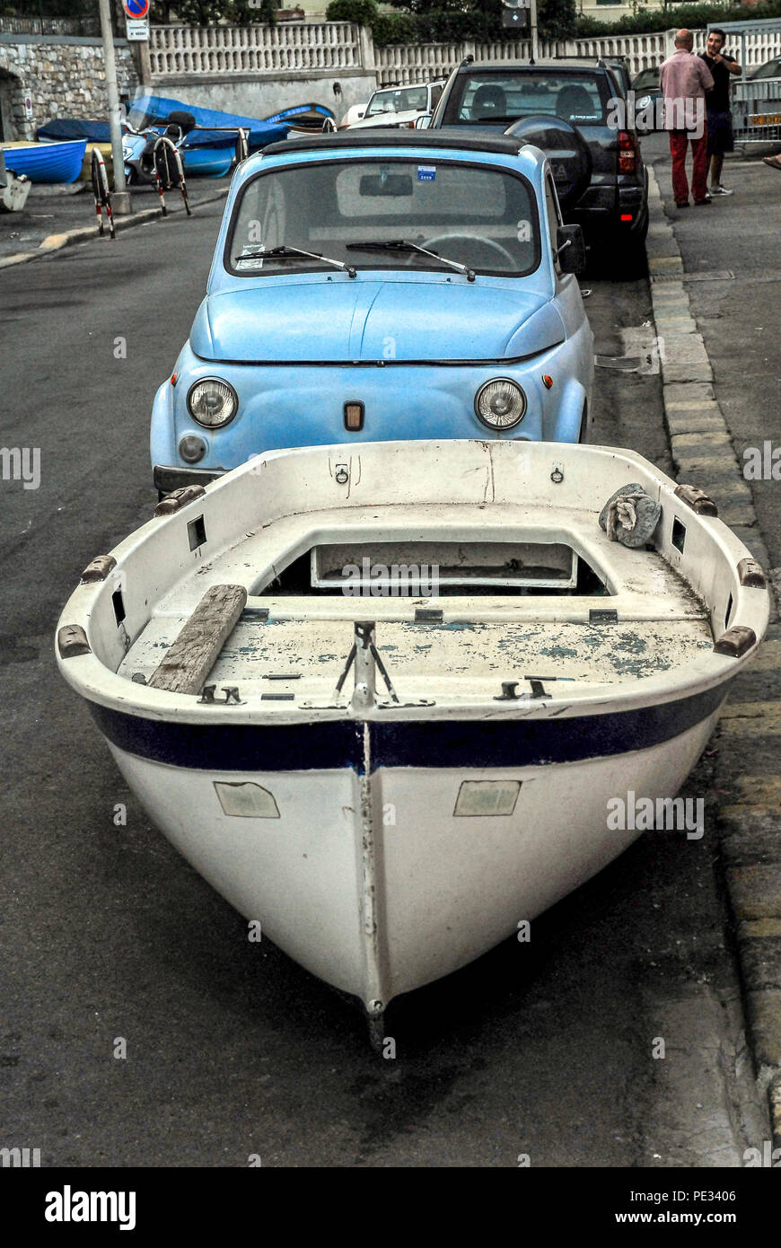 ITALY-SEPTEMBER 12: parking in the streets of Genoa,Italy,on September 12,2008. - Stock Image