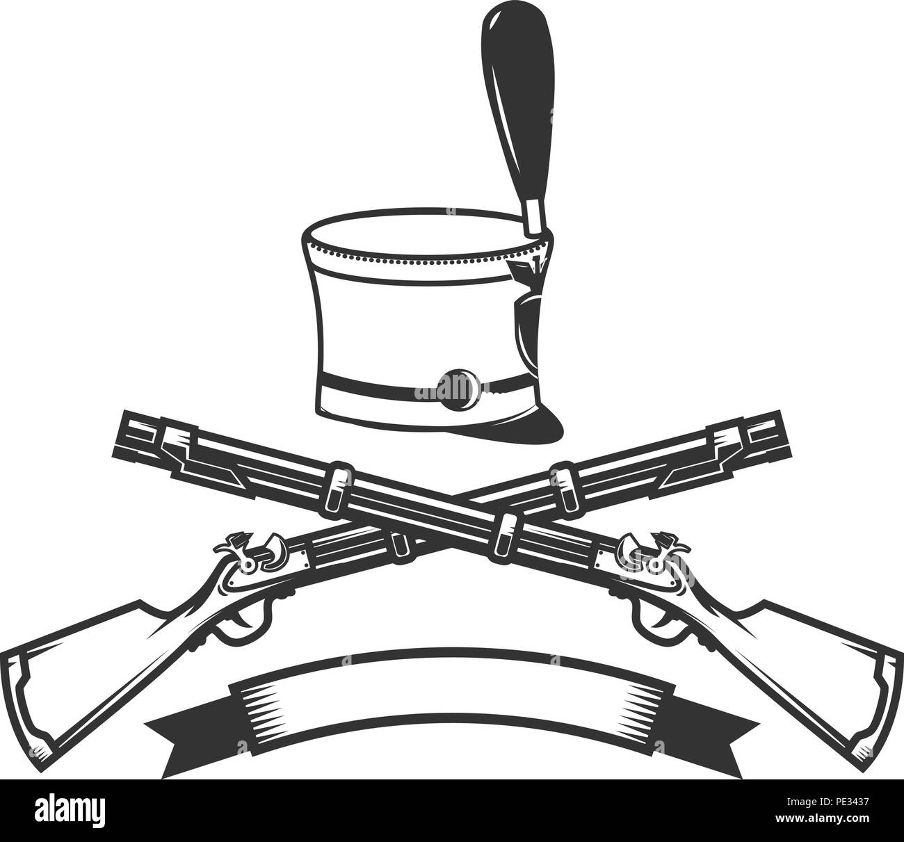 Emblem Template With Crossed Rifles And Hussar Hat Design Element For Logo Label Sign Vector Image