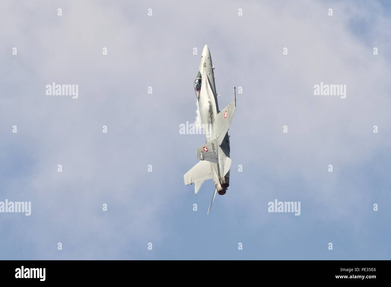Swiss Air Force - F/A-18C Hornet demonstrates it's power and agility at the 2018 Royal International Air Tattoo - Stock Image